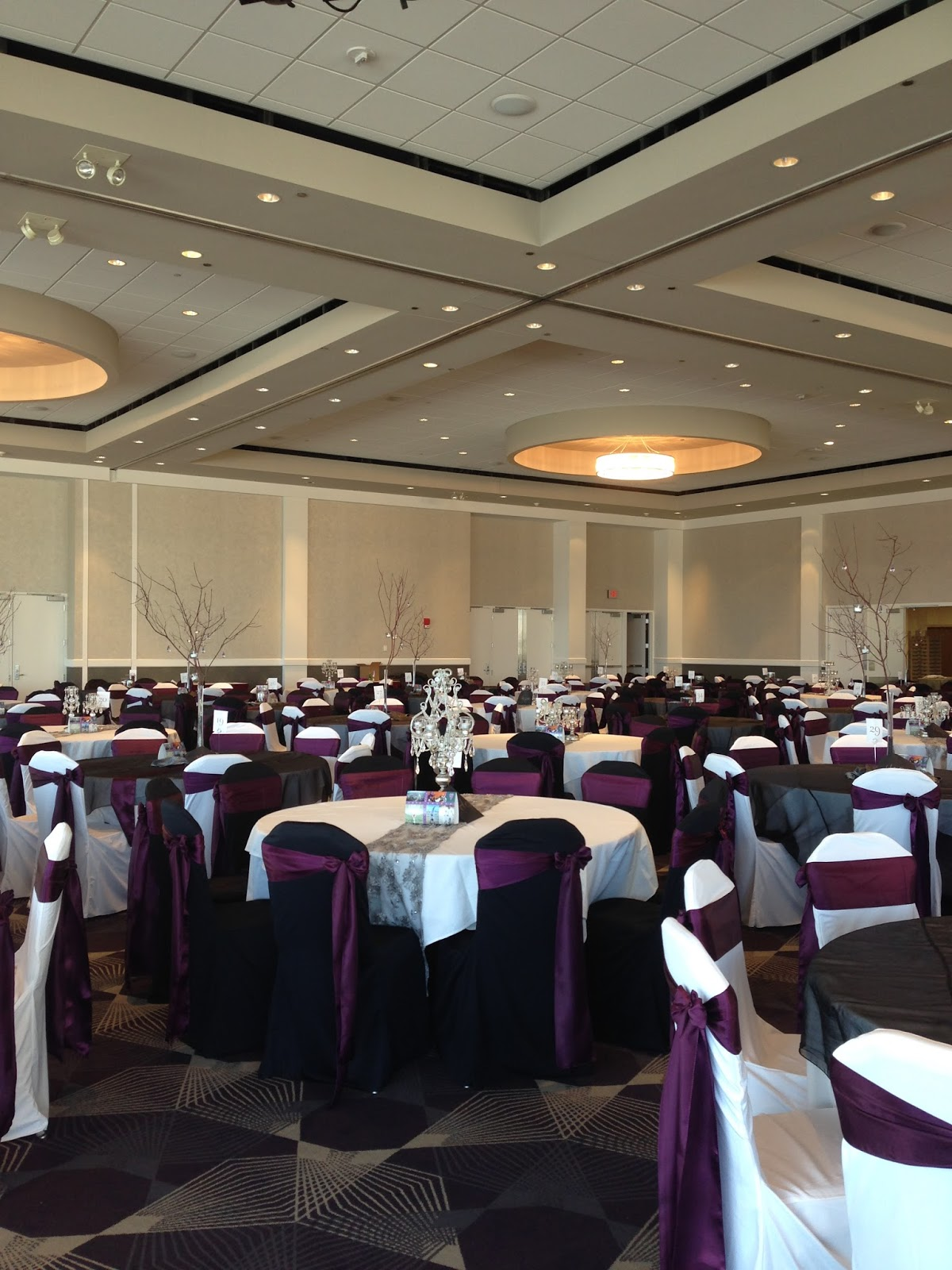 Crowne Plaza Riverfront Hotel   Black And White Chair Covers With Eggplant  Satin Sashes