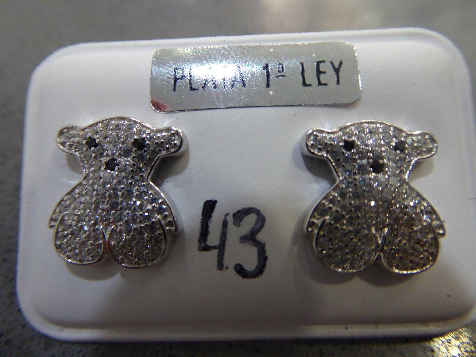 Pendientes de oso en plata con circonitas