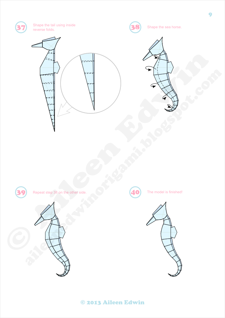 Origami Sea Horse Diagrams (Aileen Edwin)