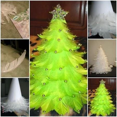 Arbol de navidad con plumas manualidades for Manualidades para navidad paso a paso