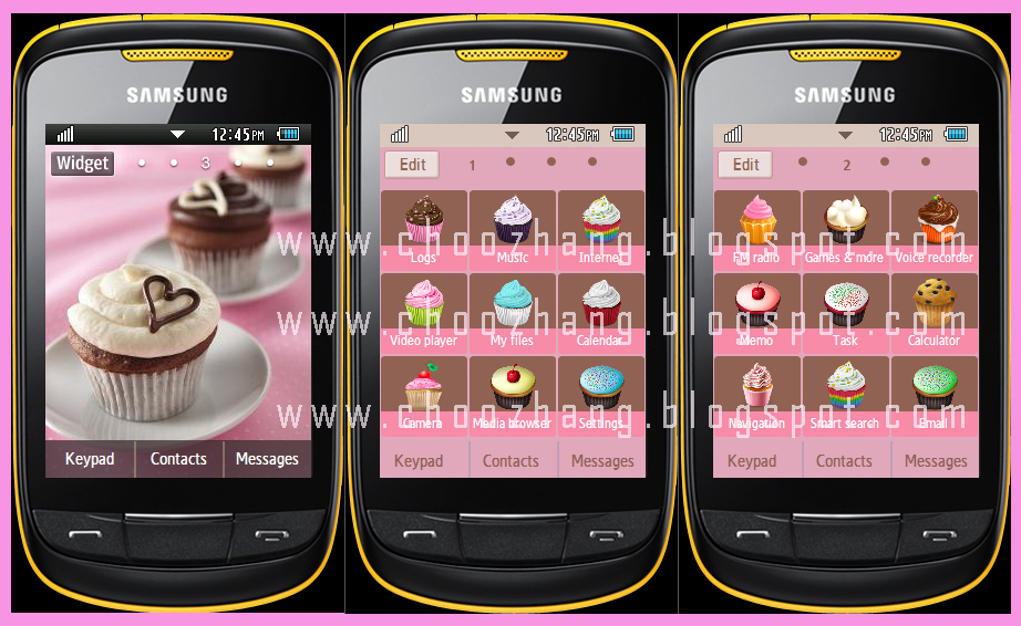 Samsung Corby 2 or S3850 - Cupcakes and Hearts Theme