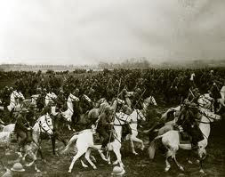 Panoramic photographb of Polish Cavalry in full charge ( before WW2)