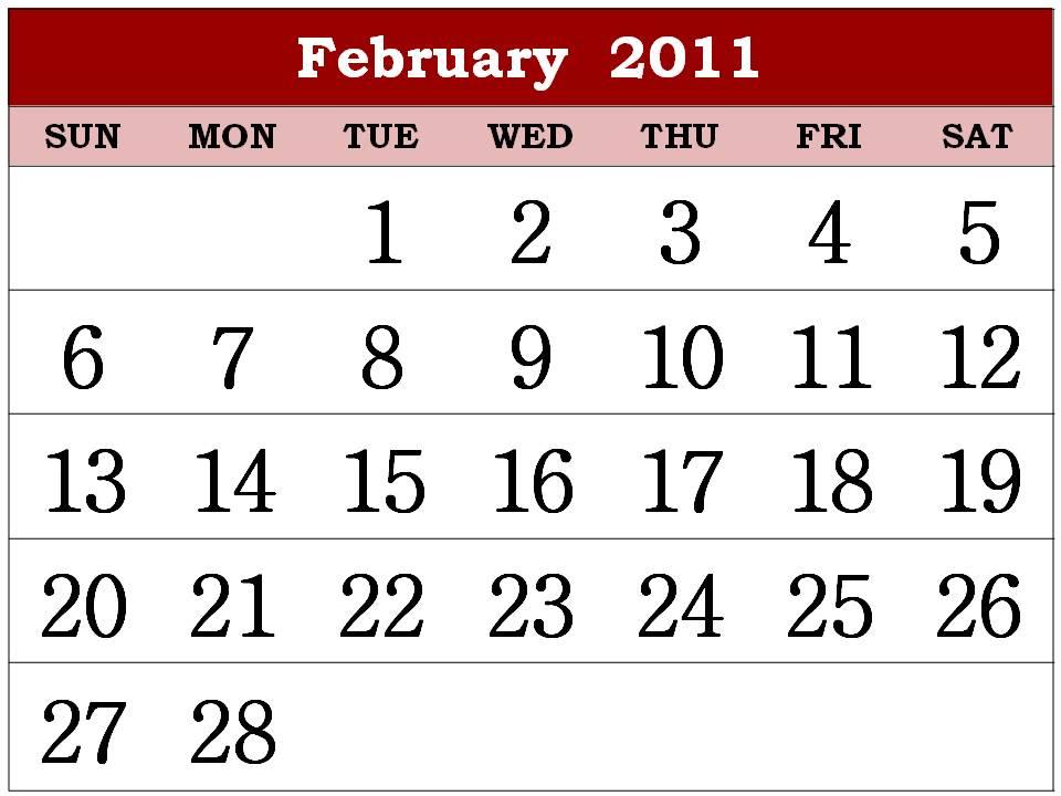 2011 calendar february. printable 2011 calendar