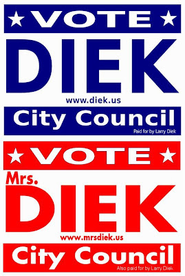 Conflicting Vote for Diek signs