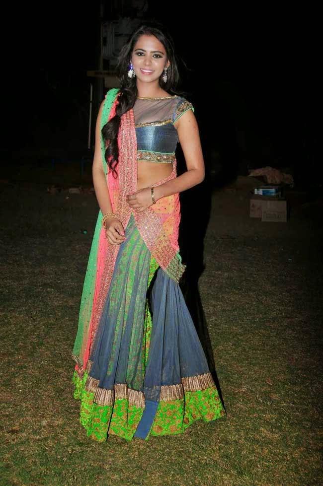 Manasa In Designer Half Saree