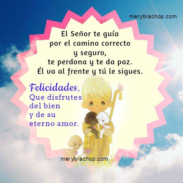 Bonita Tarjeta con un mensaje cristiano para cumpleaños del salmo 23, El Señor es mi Pastor, Jehová, versículos bíblicos en cumpleaños.