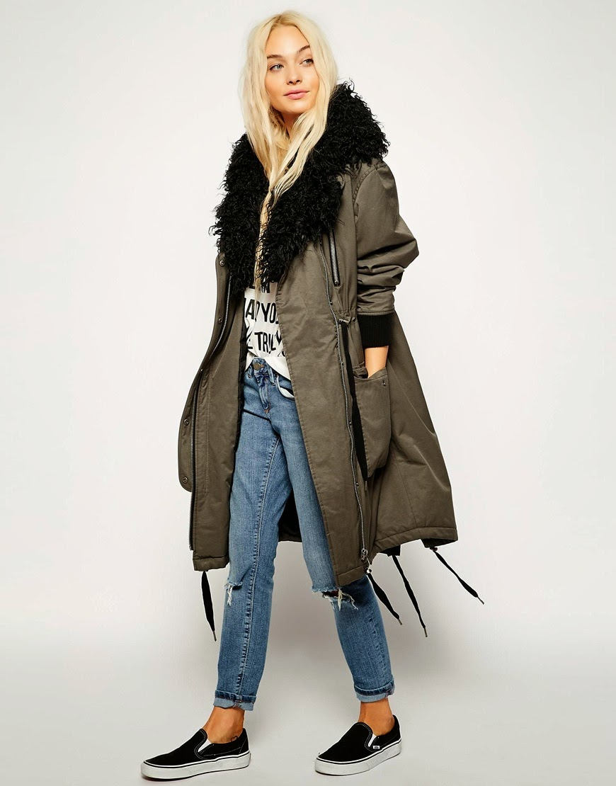 asos parka long, black collar parka coat