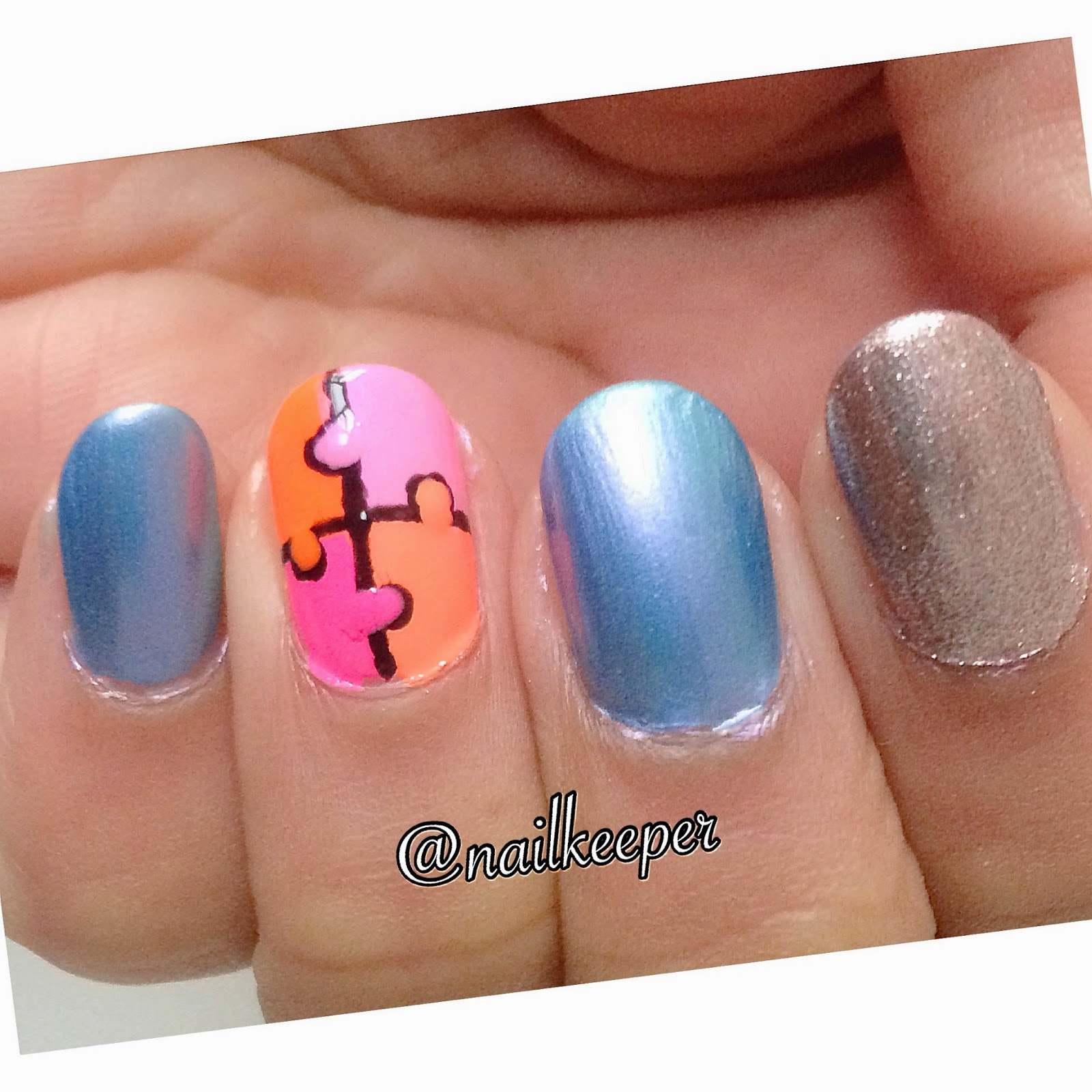 Nailkeeper: Jigsaw puzzle nail art and Orly colorblast nail polish