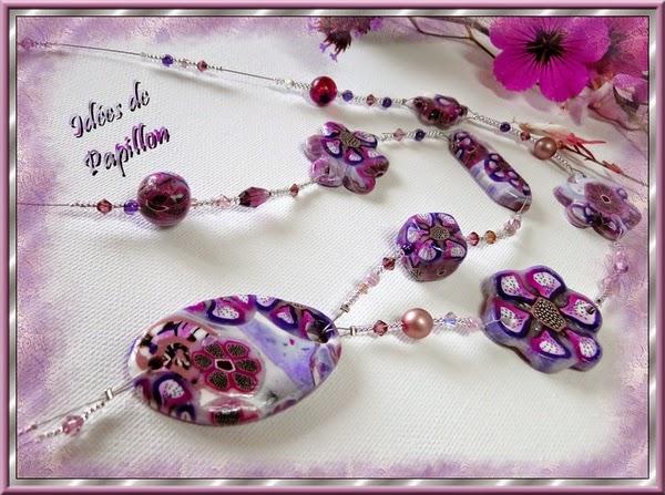 Sautoir perles en fimo fleuri violet sur IDEES DE PAPILLON
