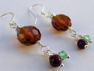 Handcrafted Sterling Silver, Crystal, and Jade Earrings