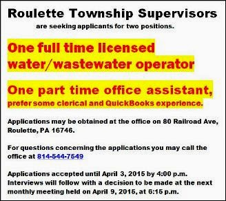 Positions Available At Roulette Township