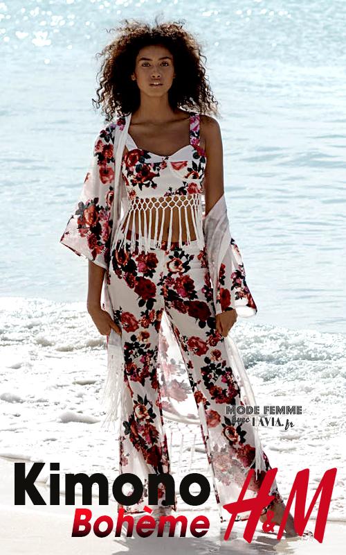 Kimono fleuri style bohème