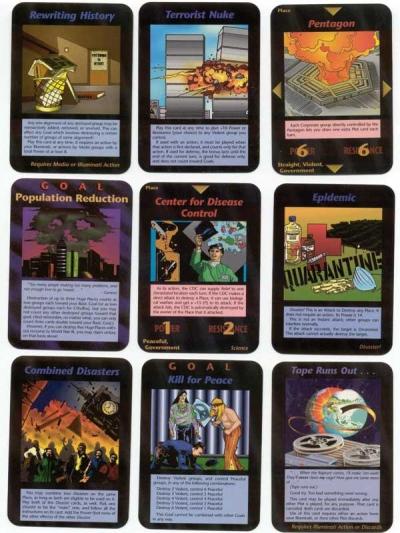 Salah satu kad, Combined Disasters (gabungan bencana) dalam permainan Illuminati ini dikatakan bakal menjadi kemuncak teori konspirasi.