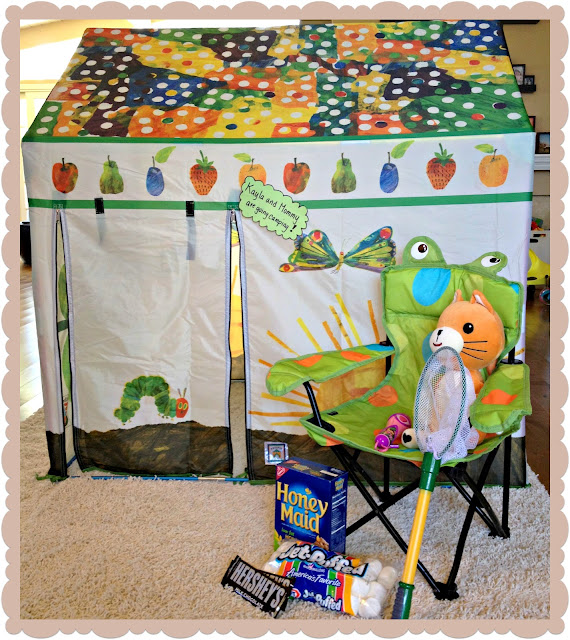 indoor camping, bonding with smores,eric carla tent, very hungry caterpillar tent