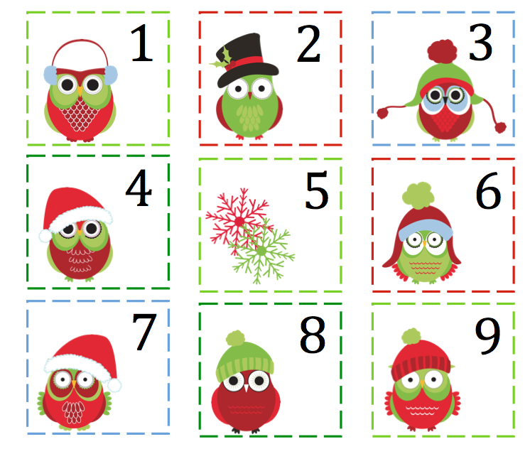 Christmas Owl Theme Number Cards 1-100 ~ Preschool Printables