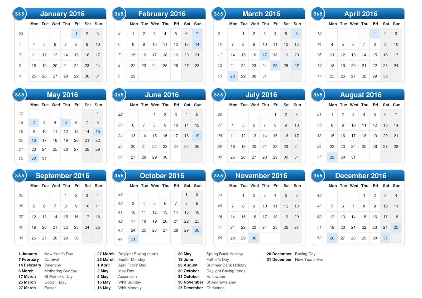 Calendar Free, 2016 Calendar Word Excel PDF Template, 2016 Calendar ...