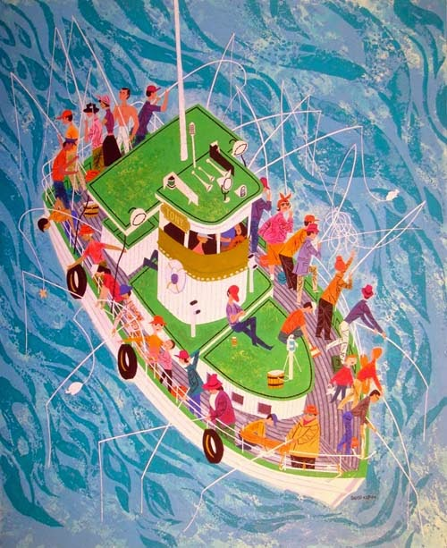 a boat full of people fishing illustration by David Klein