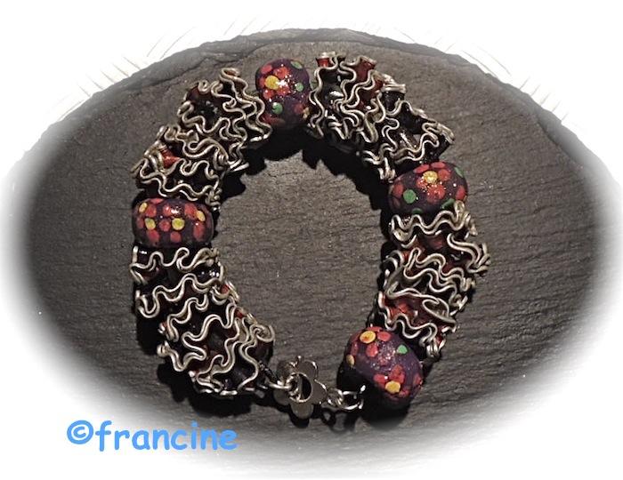 """Fabuleux FRANCINE BRICOLE : Bracelet à fleurettes multicolores : """"Capsules  FD21"""