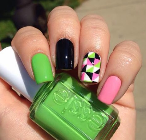 Pink, Green, & Black Triangle Nails by @kylettta on Instagram