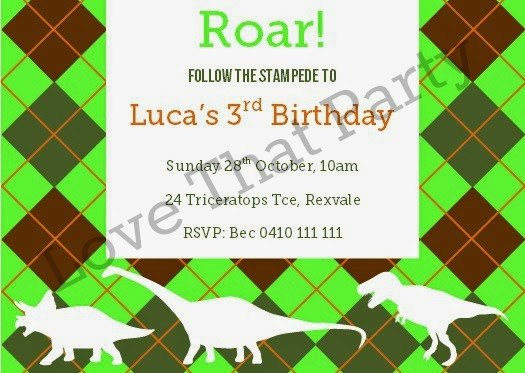 party printables birthday invitation dnosaur triceratops t-rex argle print green orange khaki olive brown
