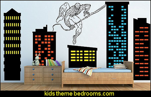 City Skyline Buildings With Spiderman Hanging On A Web Removable Wall Décor  Decal Vinyl Sticker Part 92