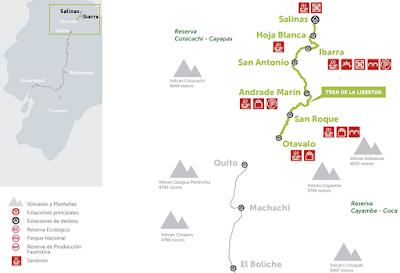 mapa Turismo en Ecuador – Viaje turístico en Tren – Tour Tren de la Libertad