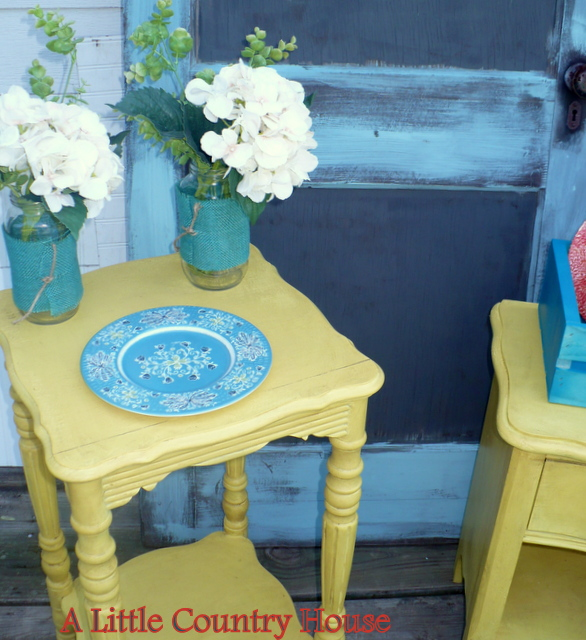 Love An Old Table In A Bright Pop Of Color!