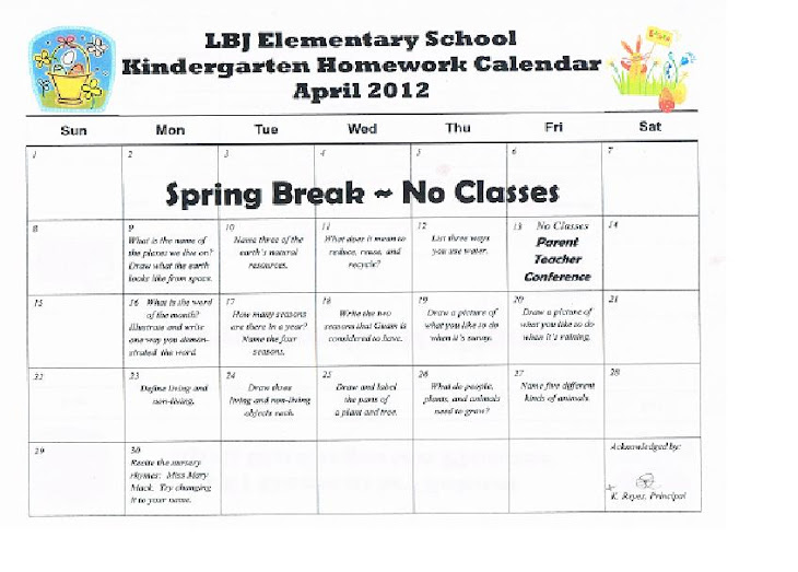 April Calendar S Kindergarten : Kindergarten news at lbj september homework