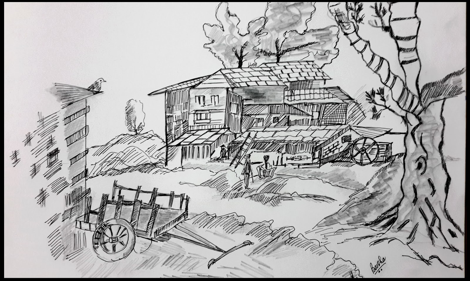 Barshau0026#39;s Painting Village Scene Ink-n-pencil On A3 Size Sketchbook