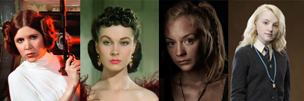 Princesa Leia, Scarlett O'Hara, Beth Greene, Luna Lovegood.