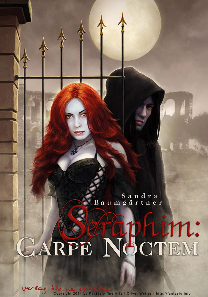 Illustration of a female vampire called seraphim with pale skin and red glowing hair standing on a kind of doorway to a German ruin, behind her a second protagonist of the story covered in a cloak