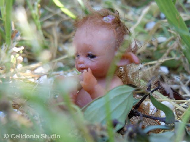 baby elfo ooak modellato in pasta sintetica