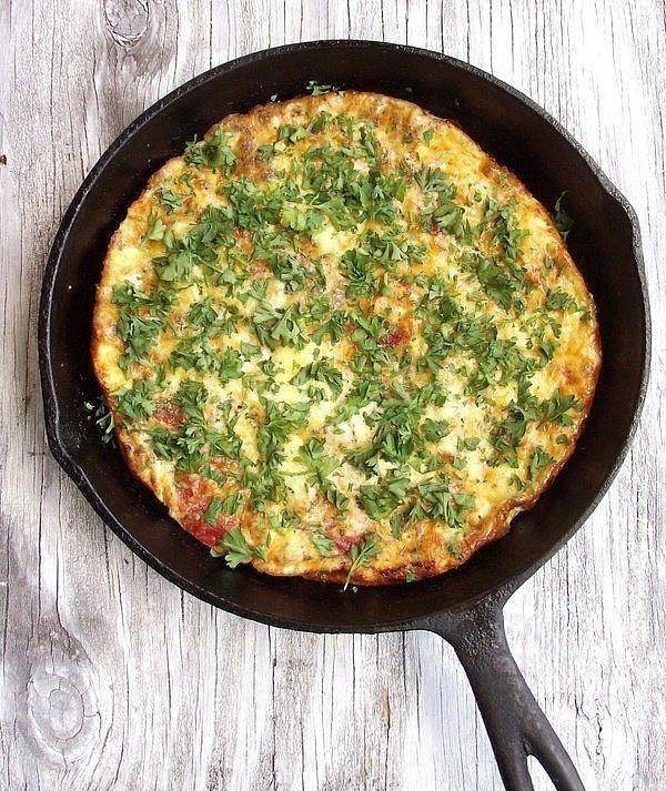 Pepperoni Pizza frittata that is great for dinner or breakfast