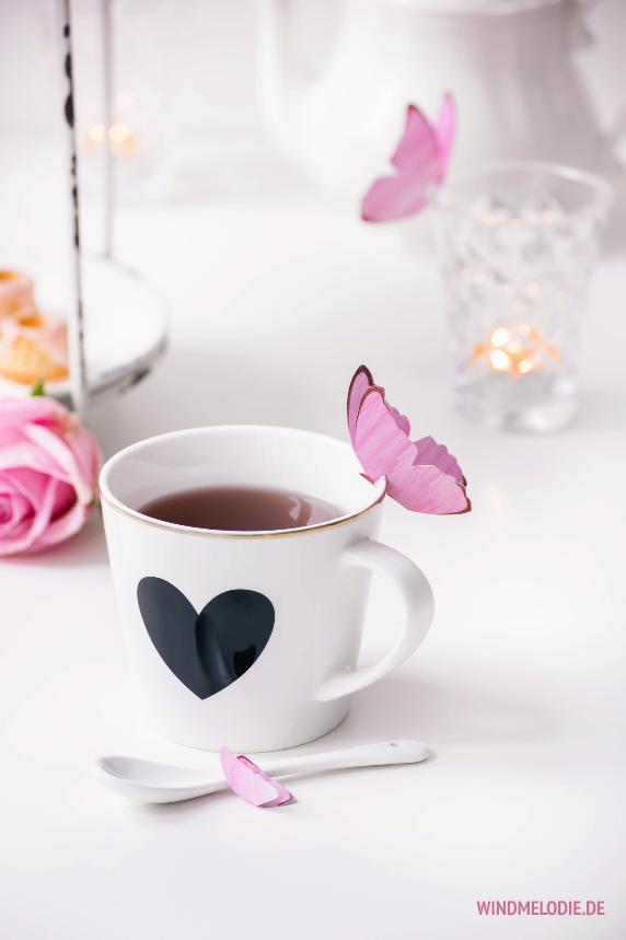 Teatime Rosa Schmetterling aus Papier basteln