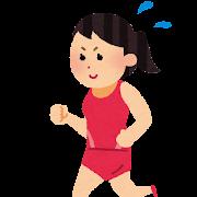長距離走・マラソンのイラスト(女子陸上)