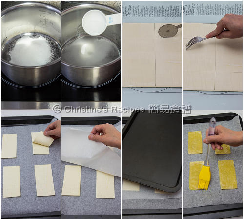 士多啤梨蛋黃醬酥皮夾餅製作圖 Strawberry Custard Pastry Procedures