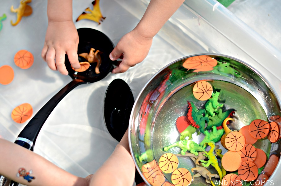Water sensory play idea for kids inspired by the book Dino-Basketball from And Next Comes L