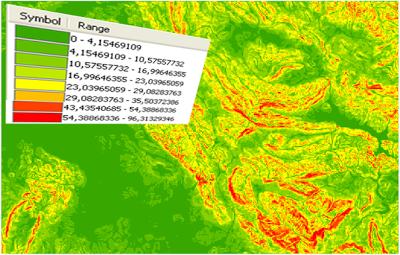 Mapa dependientes máximas en grados sexagesimales