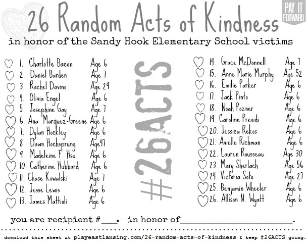 Who started the 26 acts of kindness