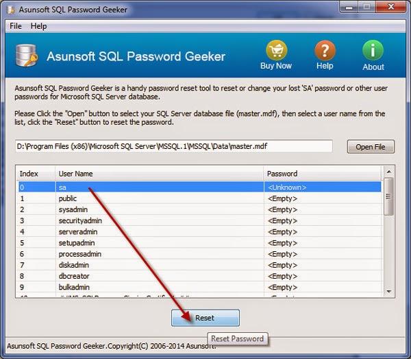 select sa user and click reset