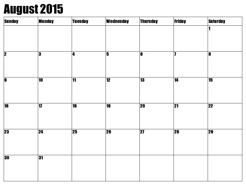 printable blank calendar august 2015
