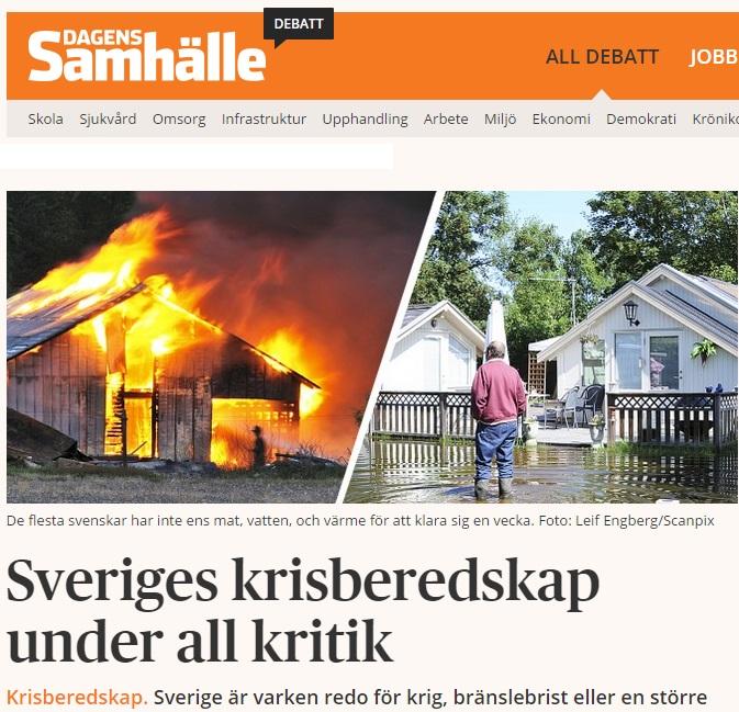 Vår debattartikel om svensk krisberedskap i Dagens Samhälle