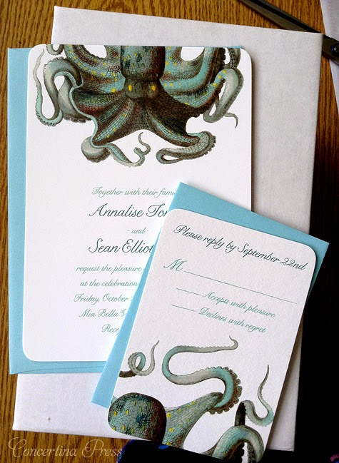 Octopus wedding invitations - great for aquarium weddings - by Concertina Press