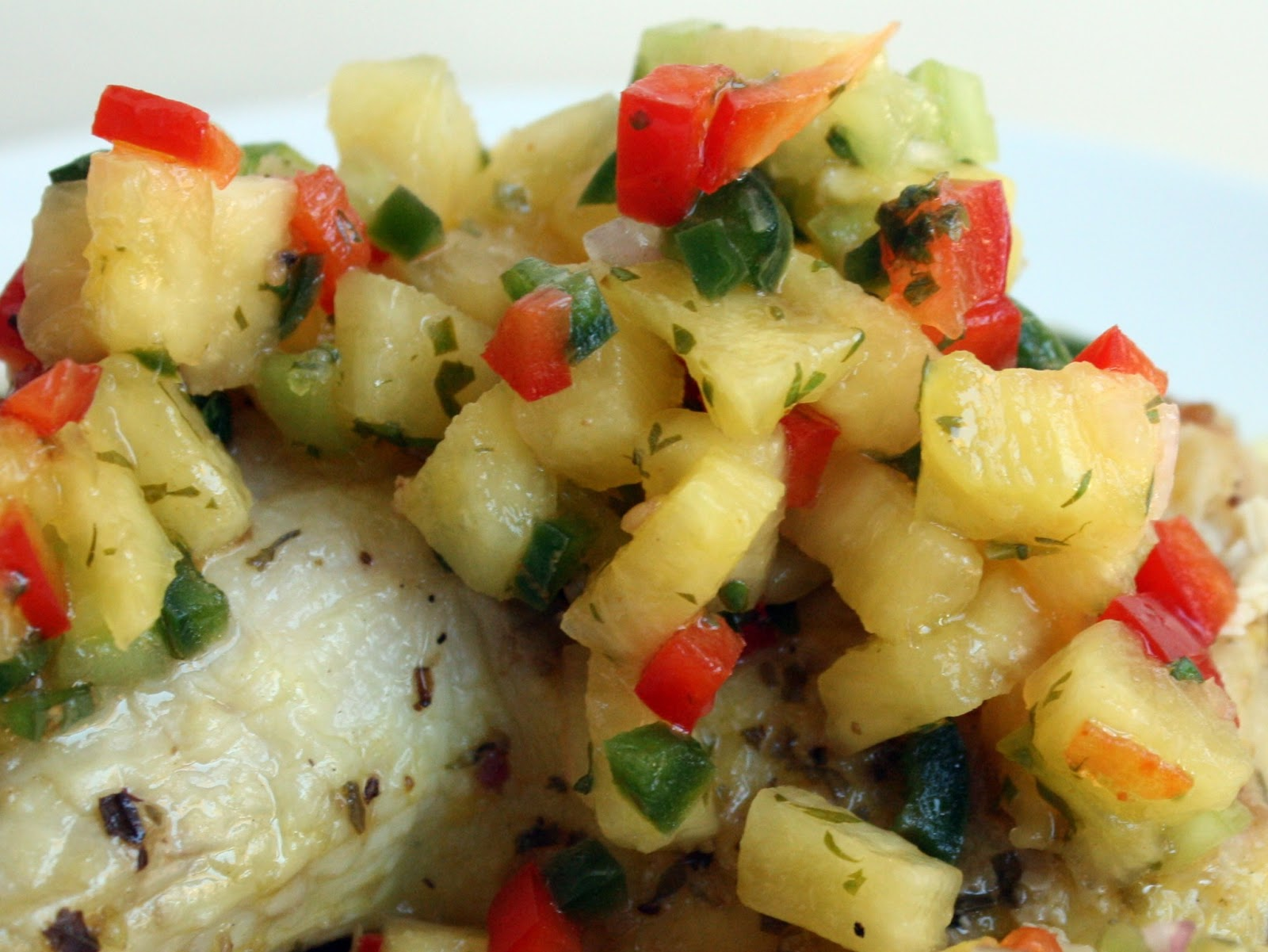 Spicy Pineapple Salsa over Chicken Quarters