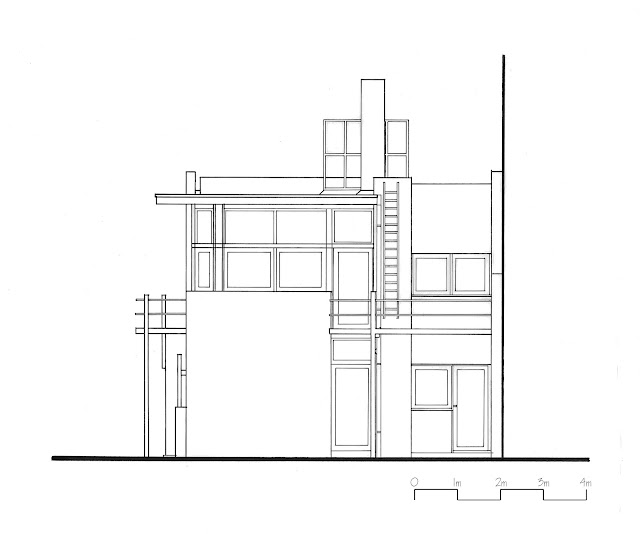 Elevation Plan Definition : The rietveld schroder house hand drawings
