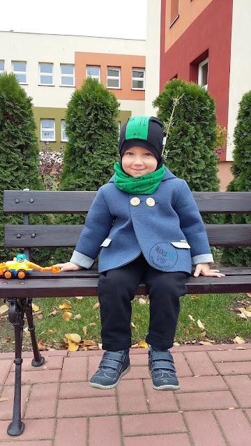 mamamiszyje, płaszczyk piankowy, komin i czapka na jesień