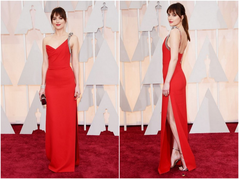 Dakota Johnson, 50 tons de cinza, fifty shades of grey, Saint Laurent, red carpet, looks, outfit, oscars 2015, oscar