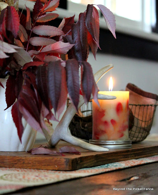 fall leaves, ironstone, centerpiece, autumn decor, http://bec4-beyondthepicketfence.blogspot.com/2015/09/ushering-in-autumn-bit-by-bit.html