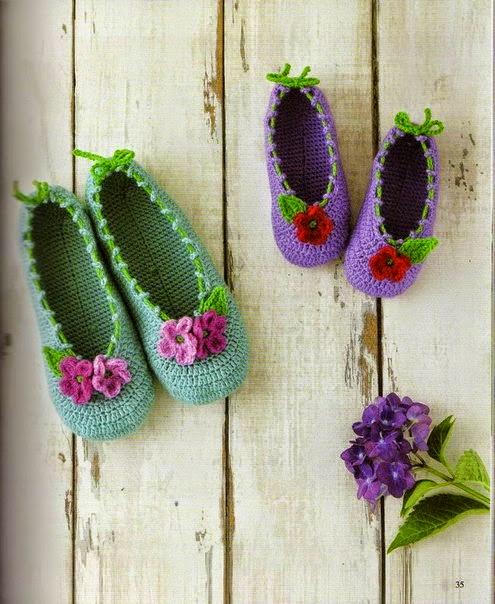 zapatos crochet con flores