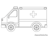 Lembar Mewarnai Mobil Ambulance